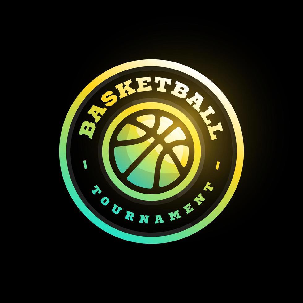 vector logo de la liga de baloncesto con pelota. Insignia deportiva de color rosa para campeonato o liga de torneo