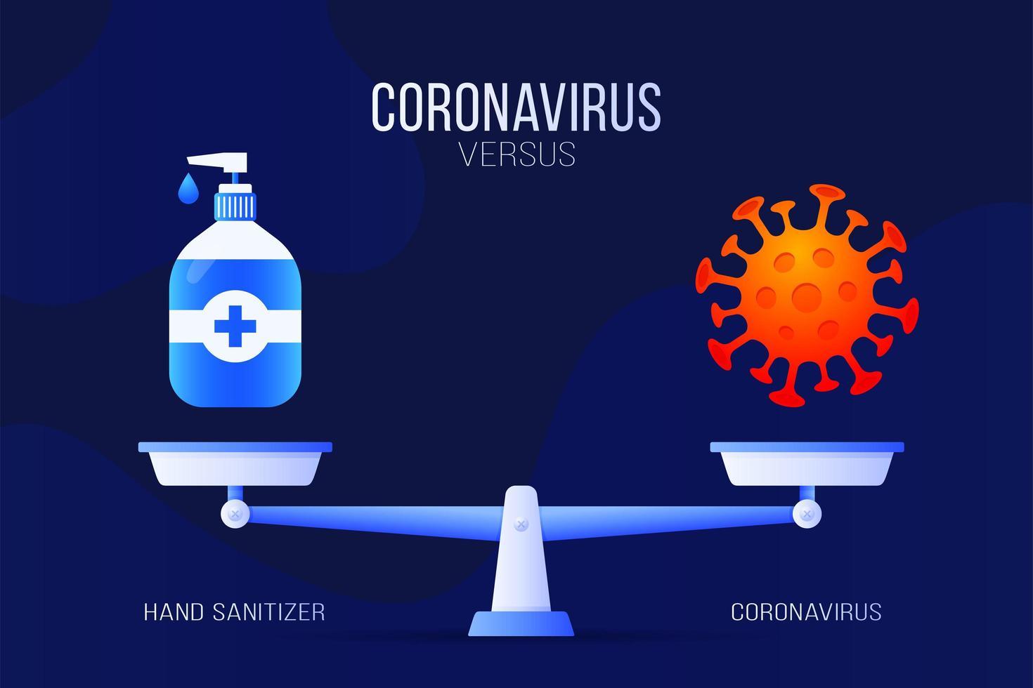Ilustración de vector de coronavirus o desinfectante de manos. concepto creativo de balanzas y versus, en un lado de la balanza se encuentra un virus covid-19 y en el otro icono de desinfectante. ilustración vectorial plana.
