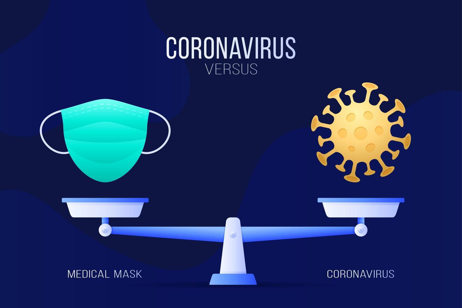 coronavirus o ilustración de vector de máscara médica. concepto creativo de escalas y versus, en un lado de la escala se encuentra un virus covid-19 y en el otro icono de máscara. ilustración vectorial plana.