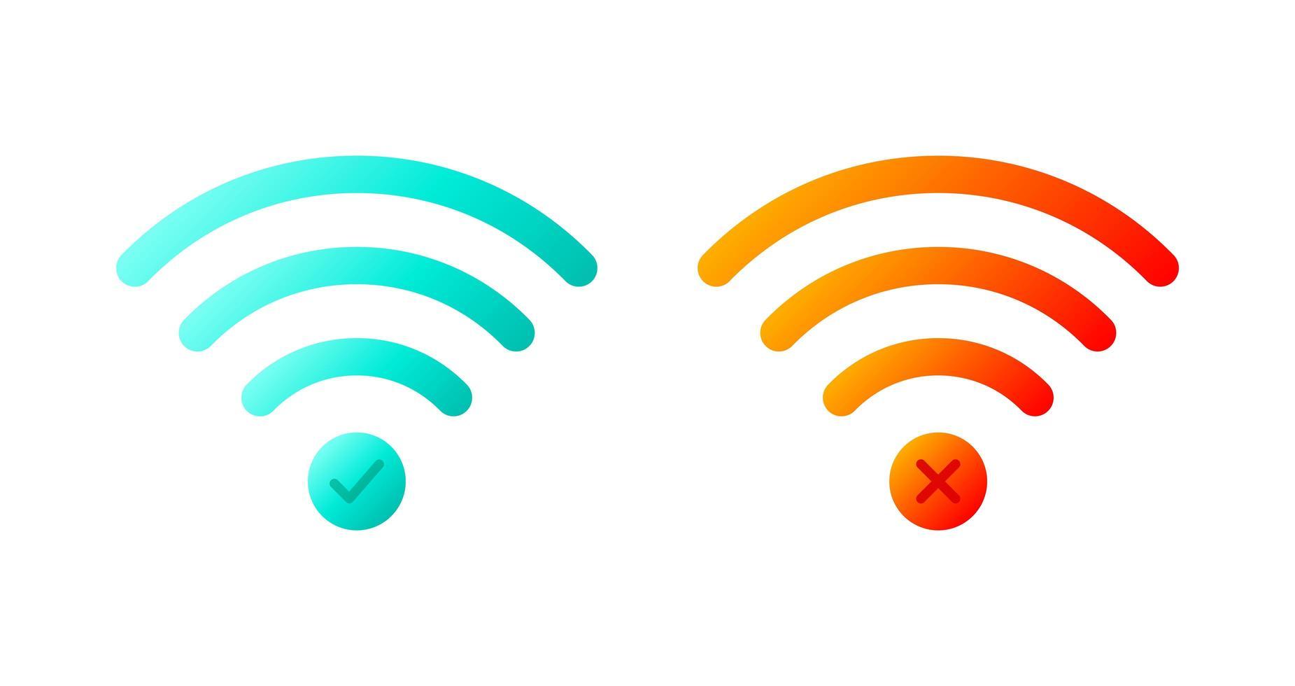 conjunto de iconos vectoriales de símbolos wifi inalámbricos con marca de verificación y marca x. vector