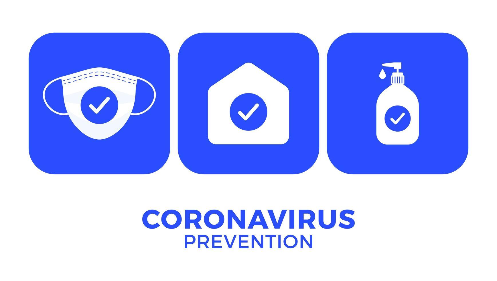 prevención de covid-19 todo en una ilustración de vector de cartel de icono. Folleto de protección contra el coronavirus con conjunto de iconos blancos. quedarse en casa, usar mascarilla, usar desinfectante para manos