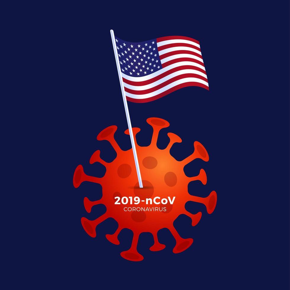 American lockdown caution coronavirus. with USA Flag stuck above coronavirus bacteria. USA plans to lock down as the Covid-19 spread vector