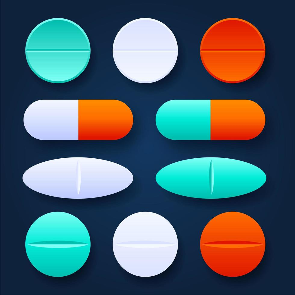 Colorful Tablets and pills realistic set. Pharmaceutical dosage forms, medical and healthcare concept. Vector 3D medical preparations illustration on dark background
