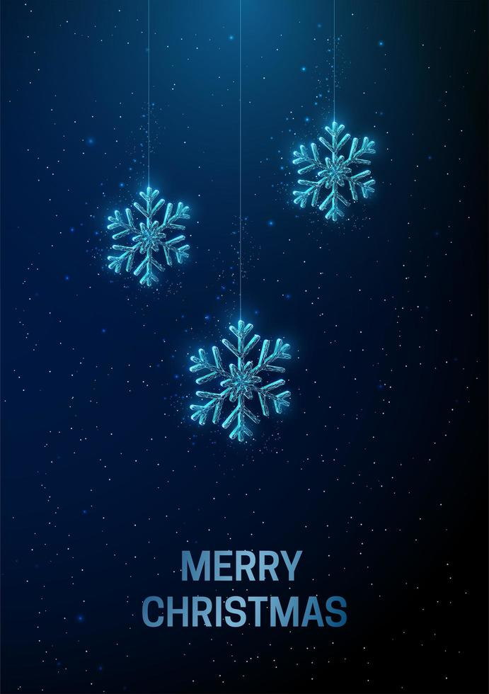 Abstract Happy New Year greeting card with hanging snowflakes. vector