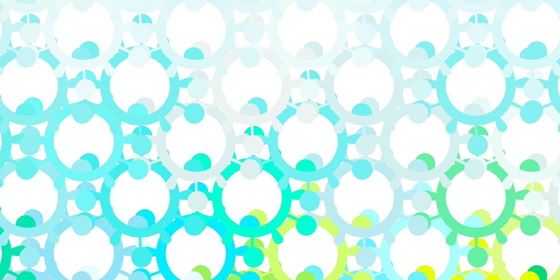 Fondo de vector azul claro, verde con símbolos covid-19