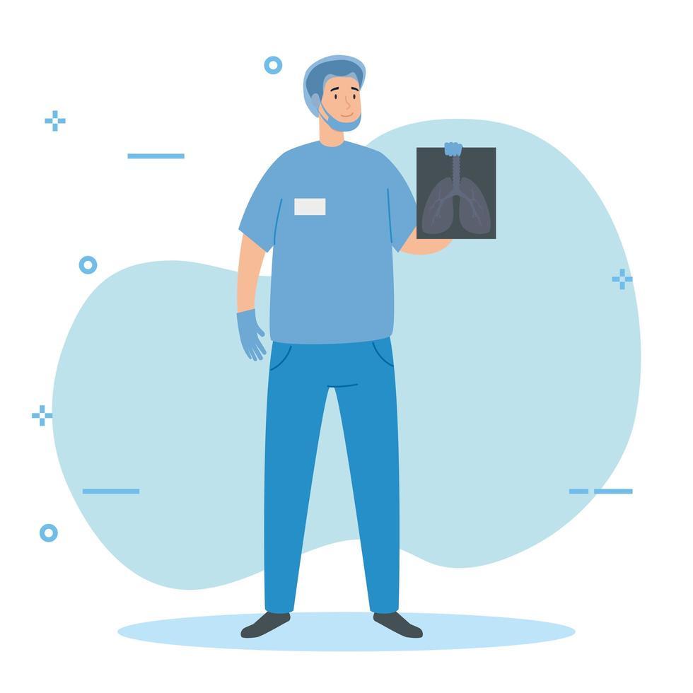 Paramédico masculino con mascarilla y radiografías de pulmón vector