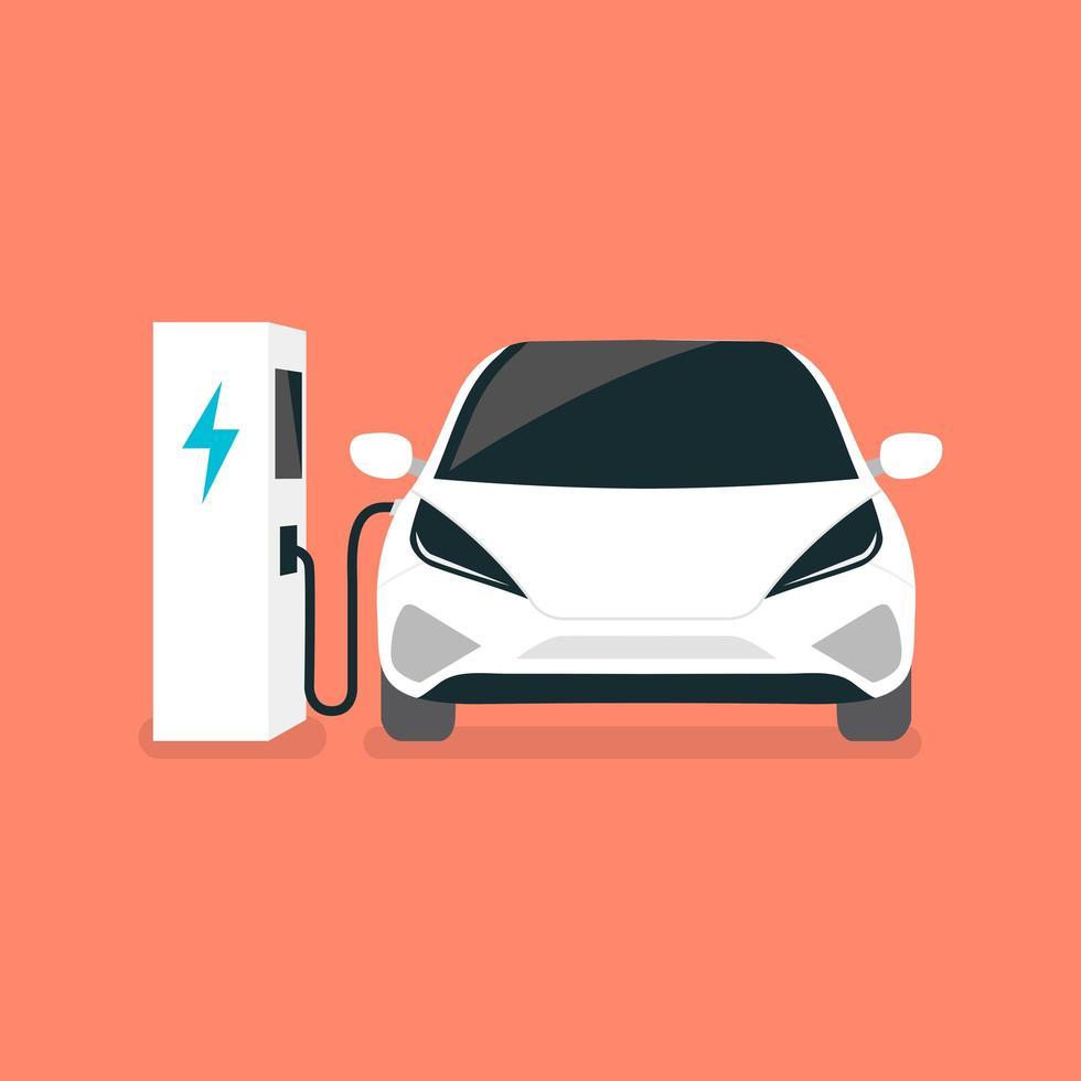 Cargas de automóviles eléctricos modernos en la estación de carga vector