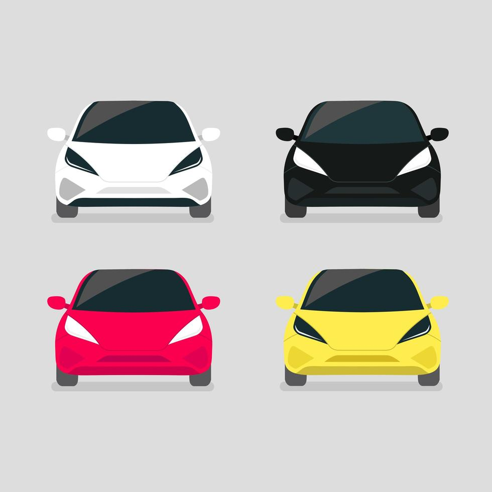 Modern electric car front view set vector