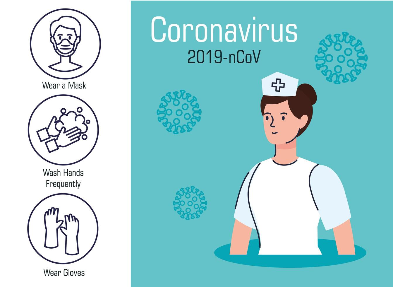 Coronavirus prevention banner with nurse vector