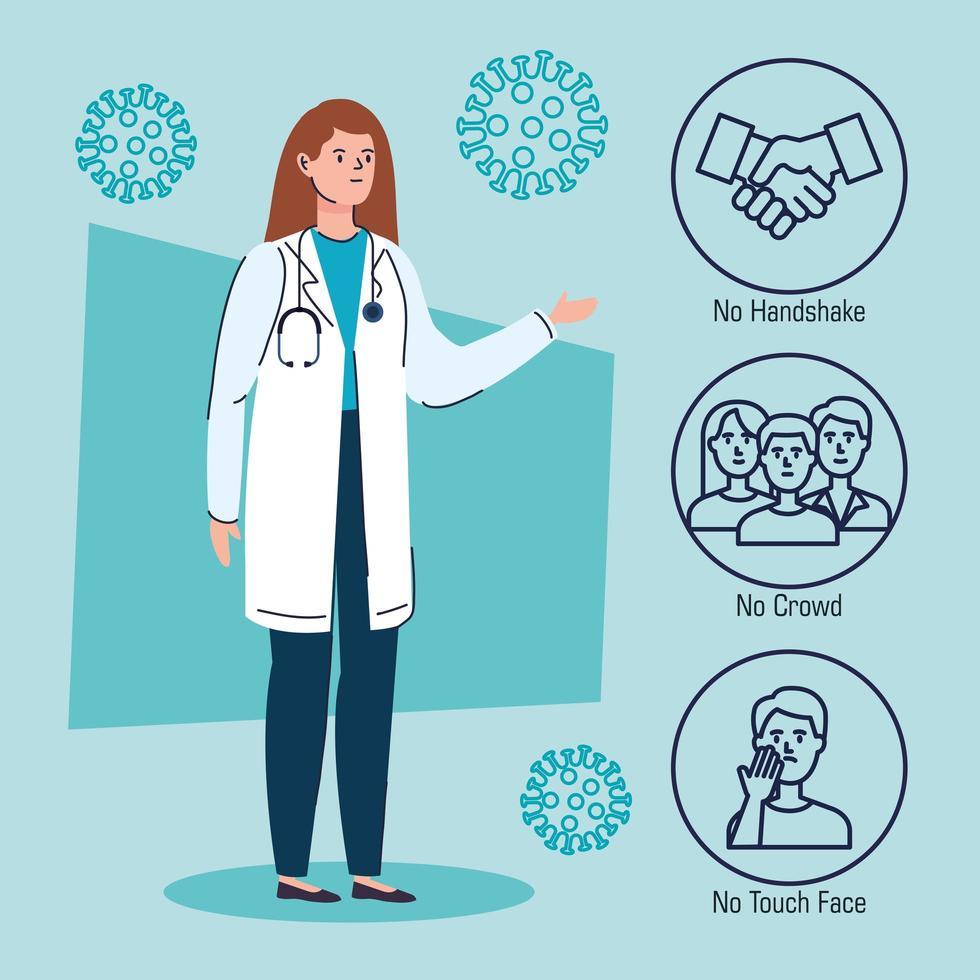 banner de prevención de coronavirus con doctor vector