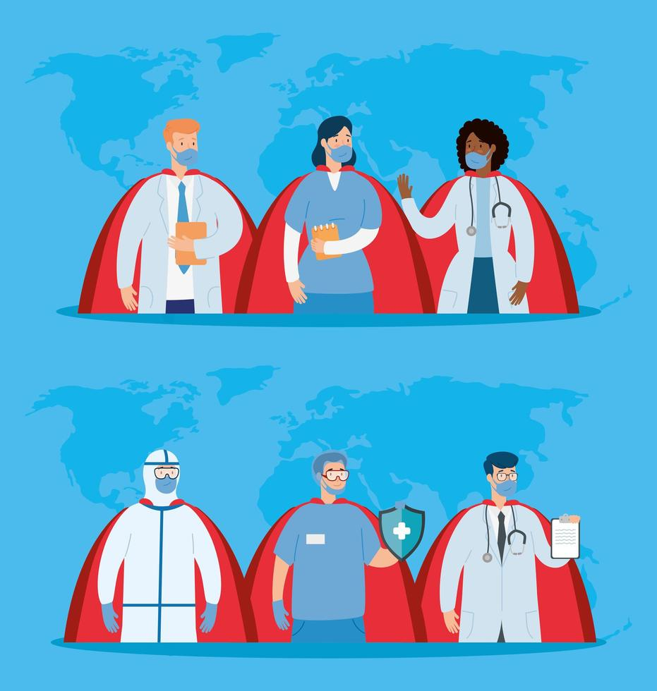 group of health professionals avatars vector
