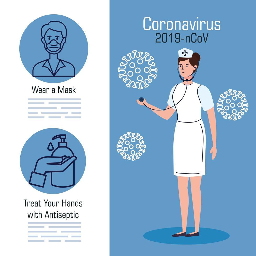 banner de prevención de coronavirus con enfermera vector