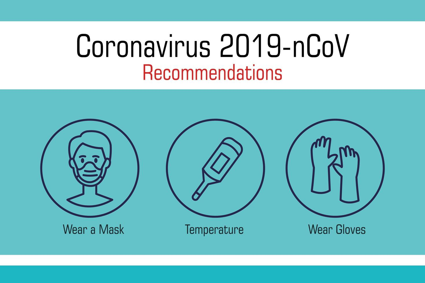 Coronavirus prevention banner with icons vector