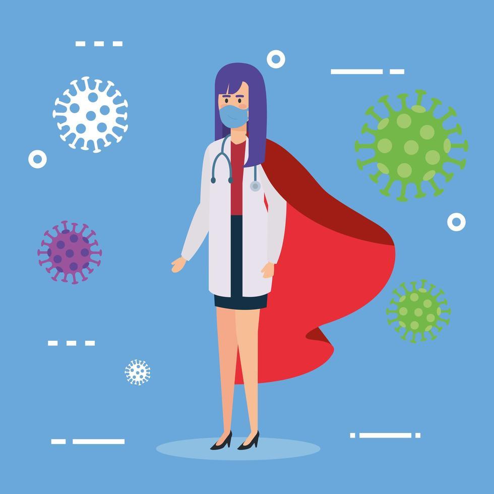 super doctor con capa de heroína y partículas de coronavirus vector