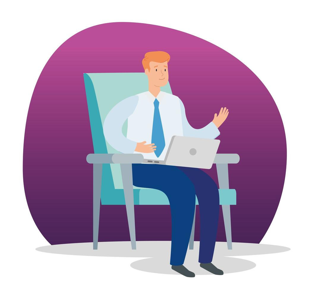 businessman sitting on the chair with laptop vector