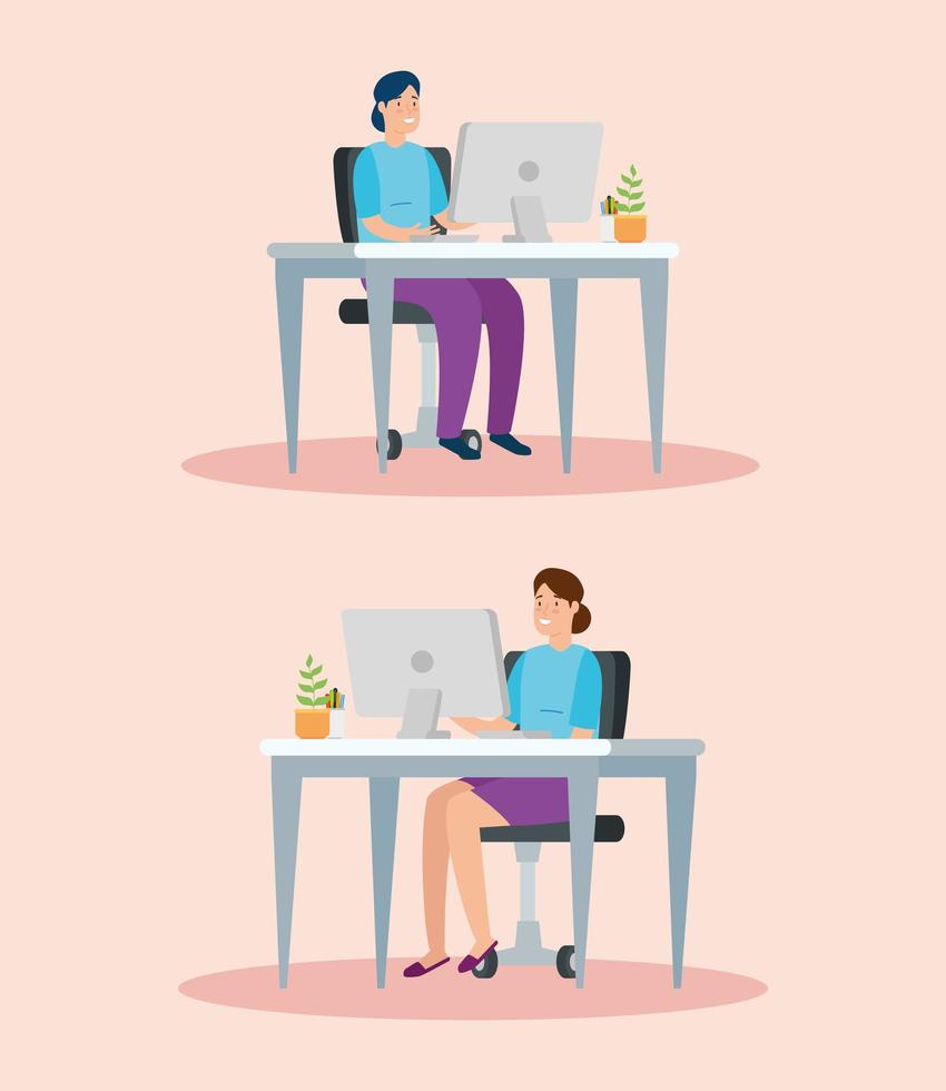 Woman on the computer at workplace set vector