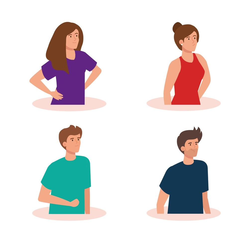 group of young people avatar characters vector