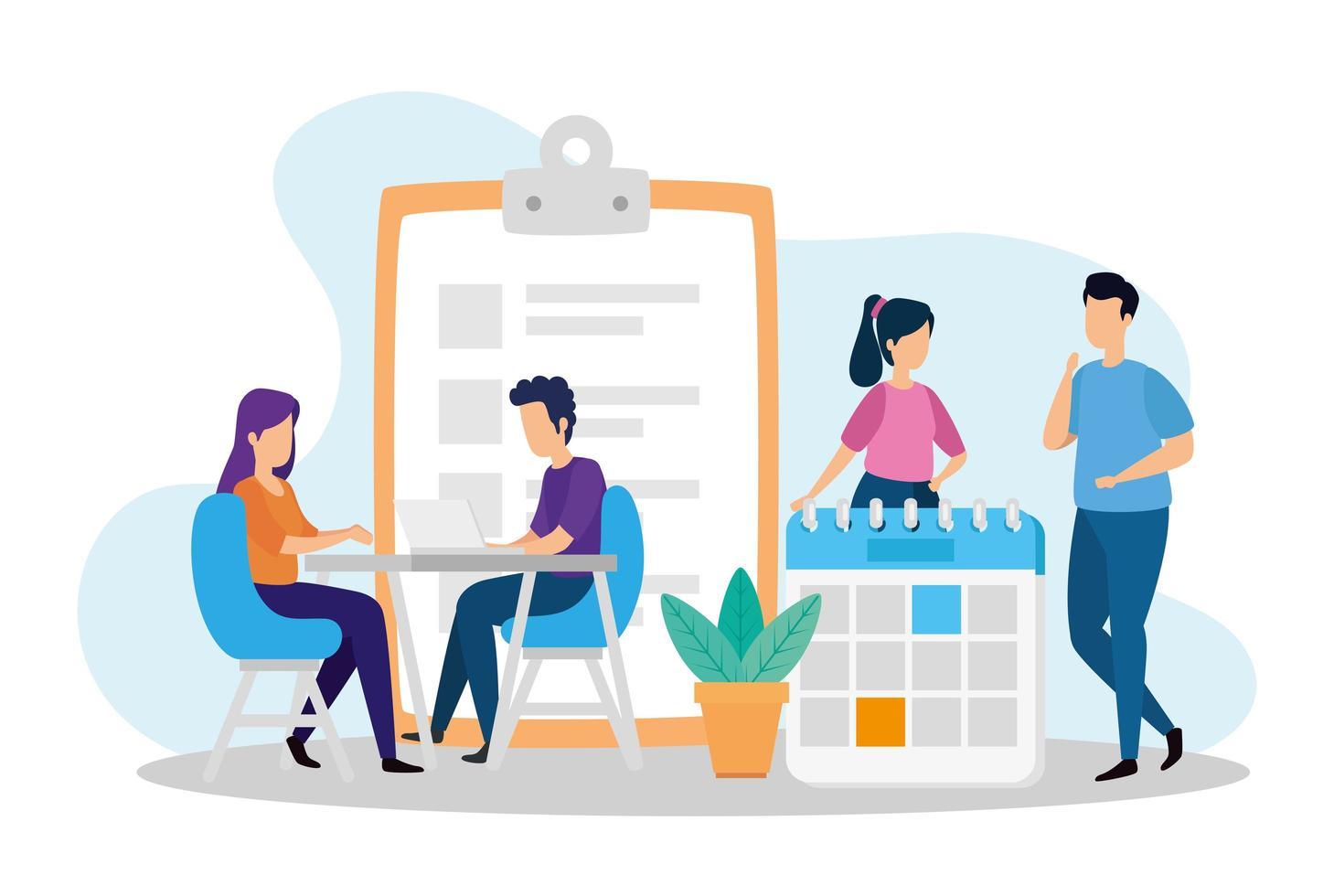 Escenas de coworking con personas e iconos. vector