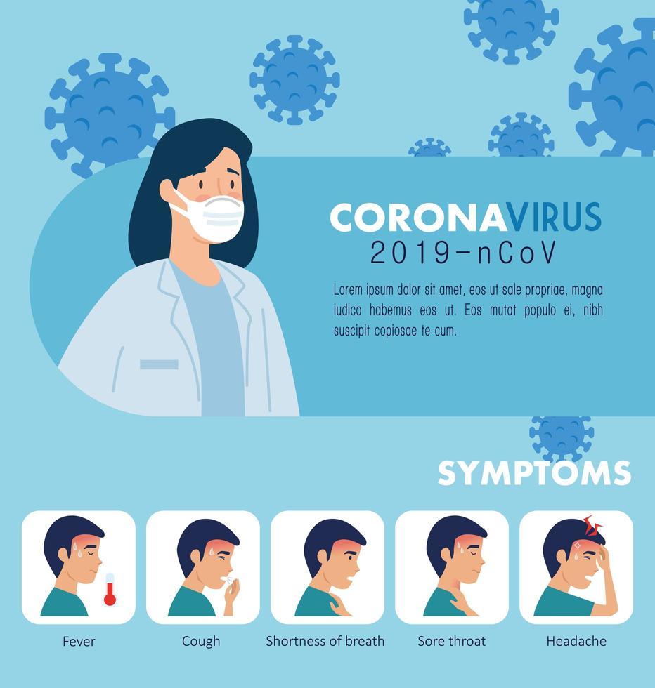 Banner de prevención de coronavirus con médico e iconos. vector
