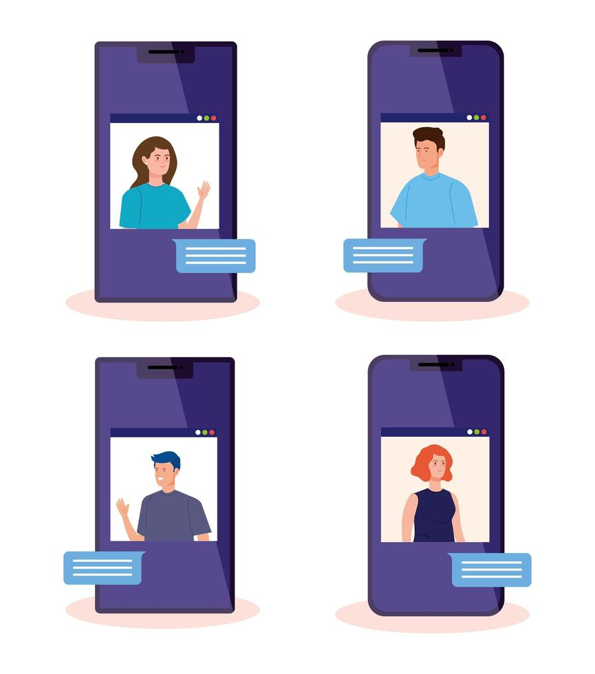 people in a video conference via smartphone vector