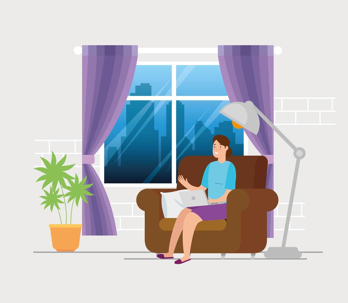 woman working with the laptop on the couch vector