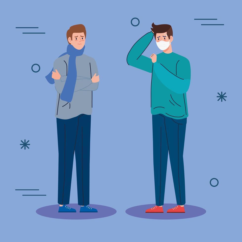 hombres con síntomas de coronavirus vector