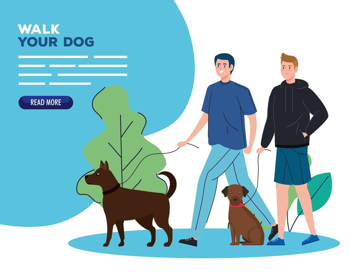 People walking their dogs outdoors banner vector