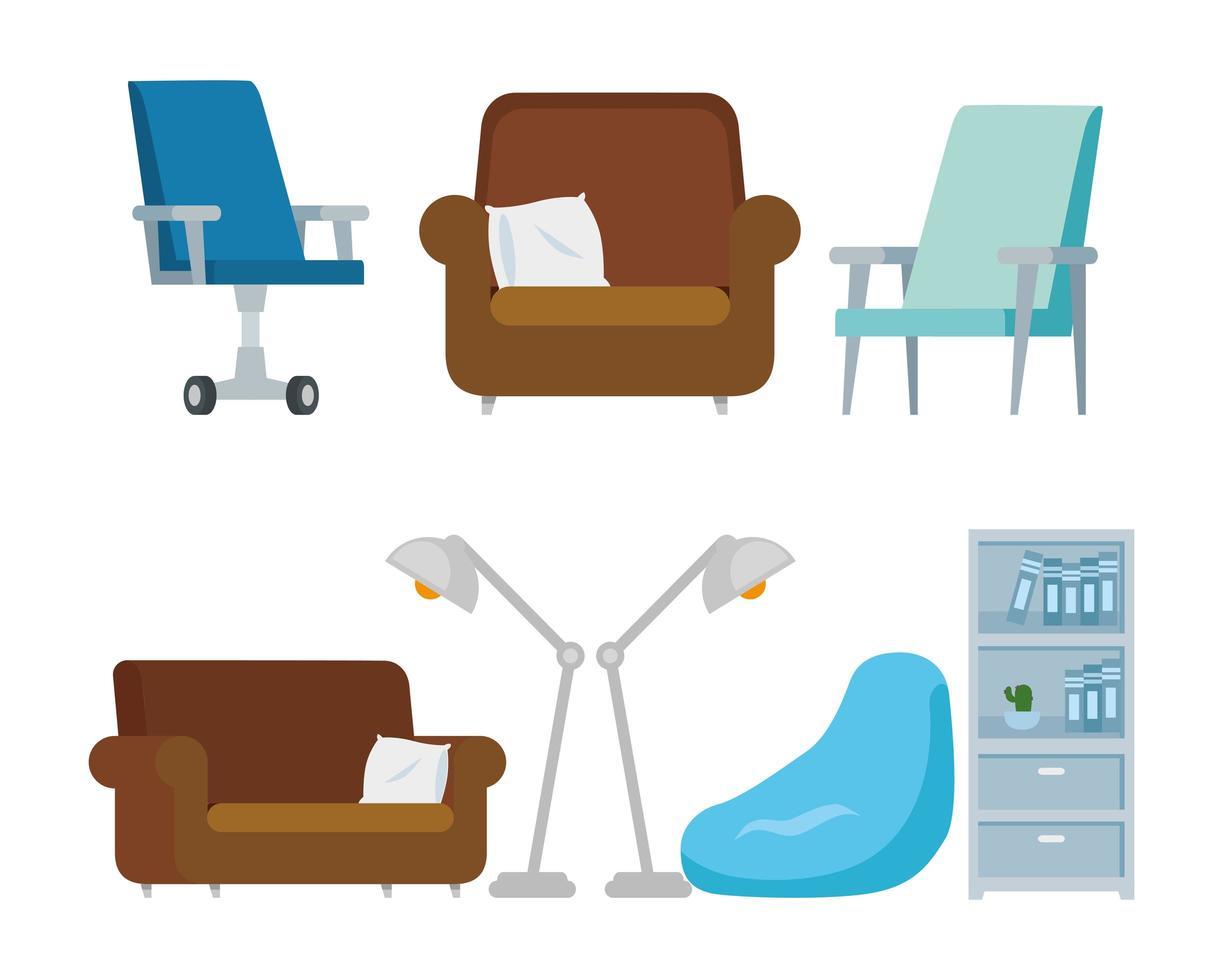 conjunto de muebles de oficina en casa vector