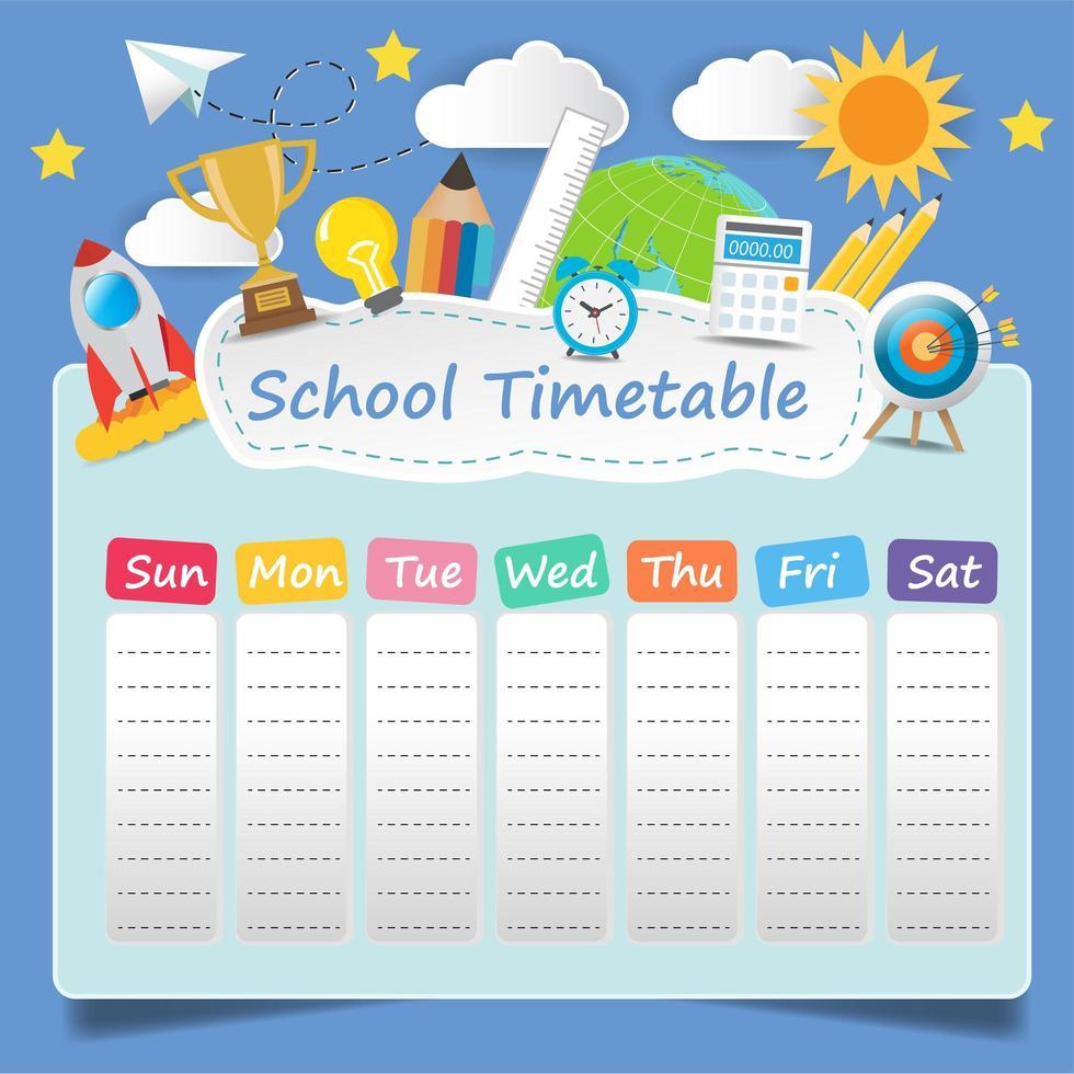 plantilla de horario escolar vector