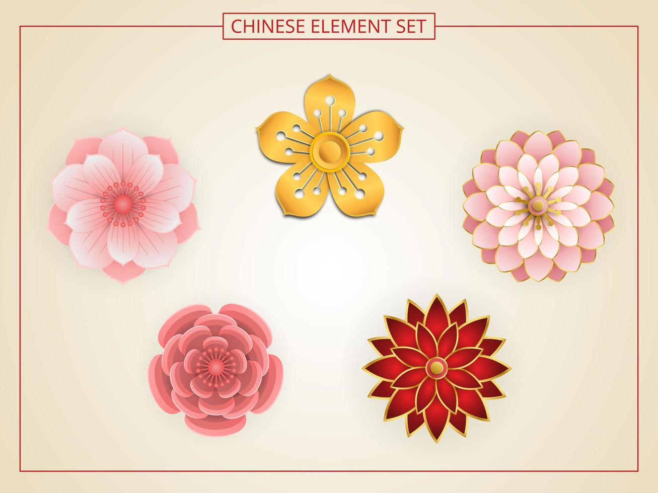 Chinese flowers with pink, red, gold color in paper cut style. vector
