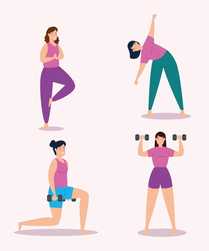 group young women practicing exercise vector