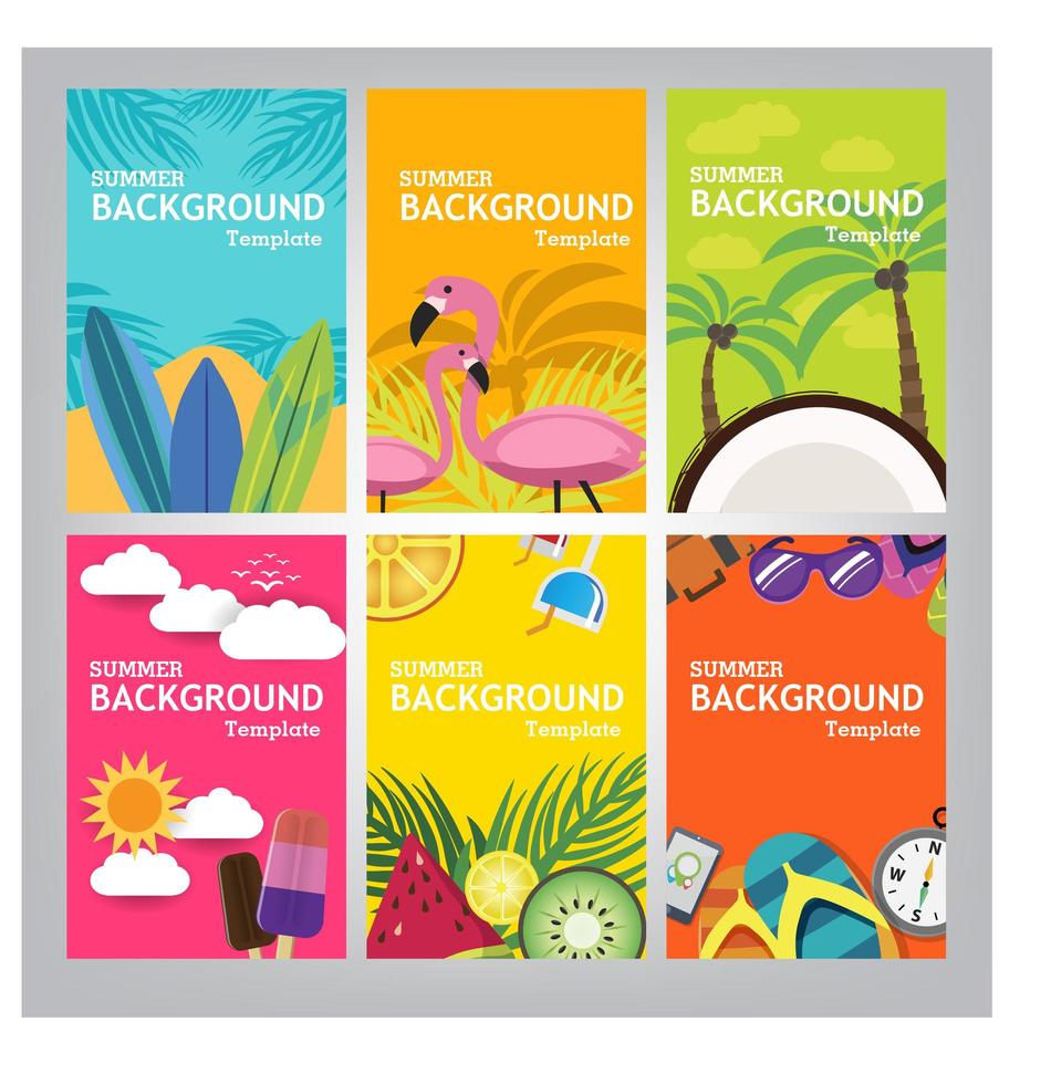 Summer banner template on color background. vector