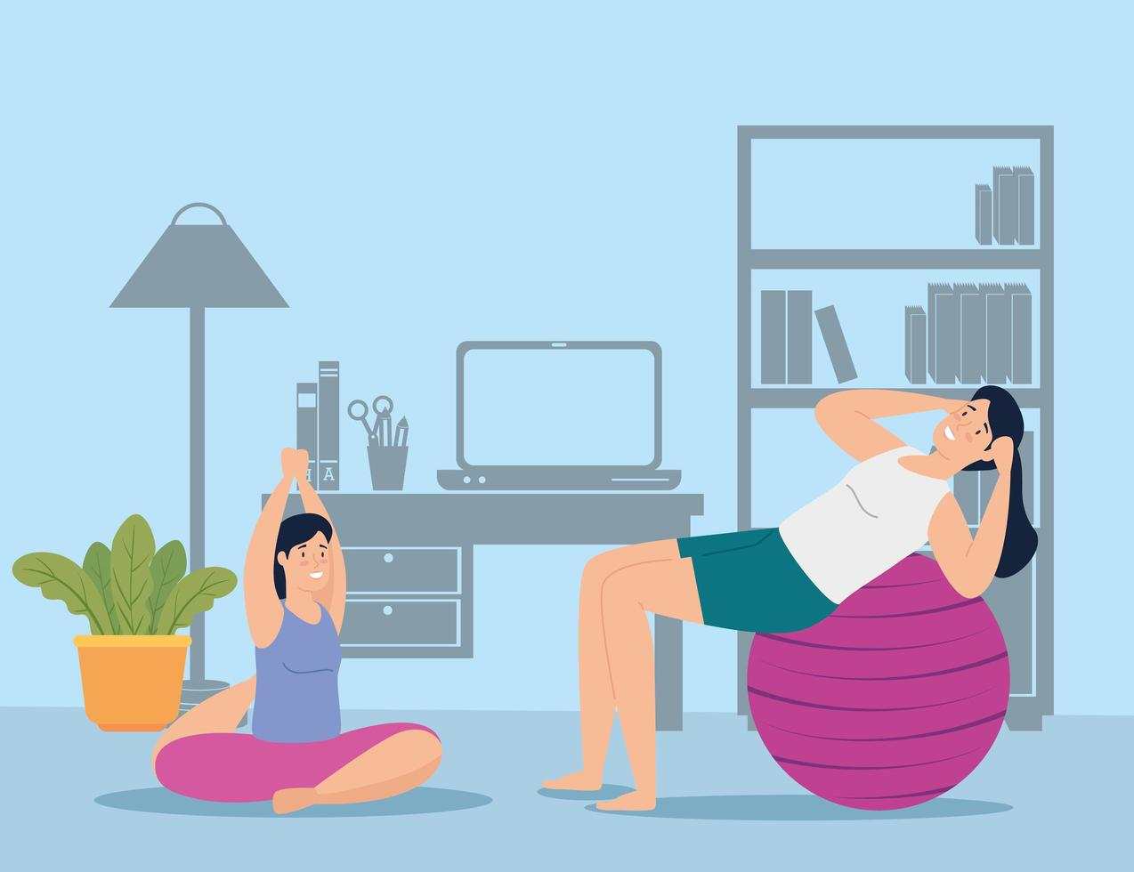 Young women exercising together indoors vector