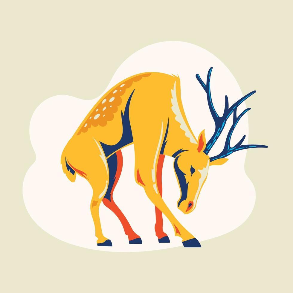 Cute standing deer with antlers vector