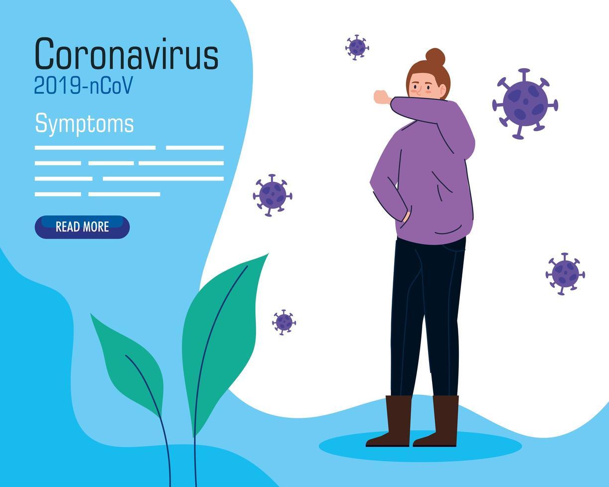 banner de síntomas de coronavirus con mujer vector