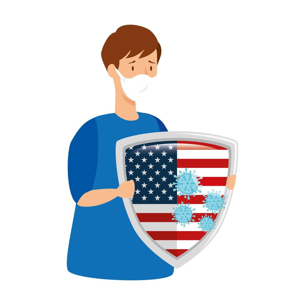 USA flag and coronavirus prevention campaign vector