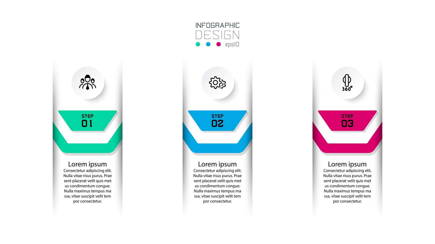 Three numbered infographic label designs vector
