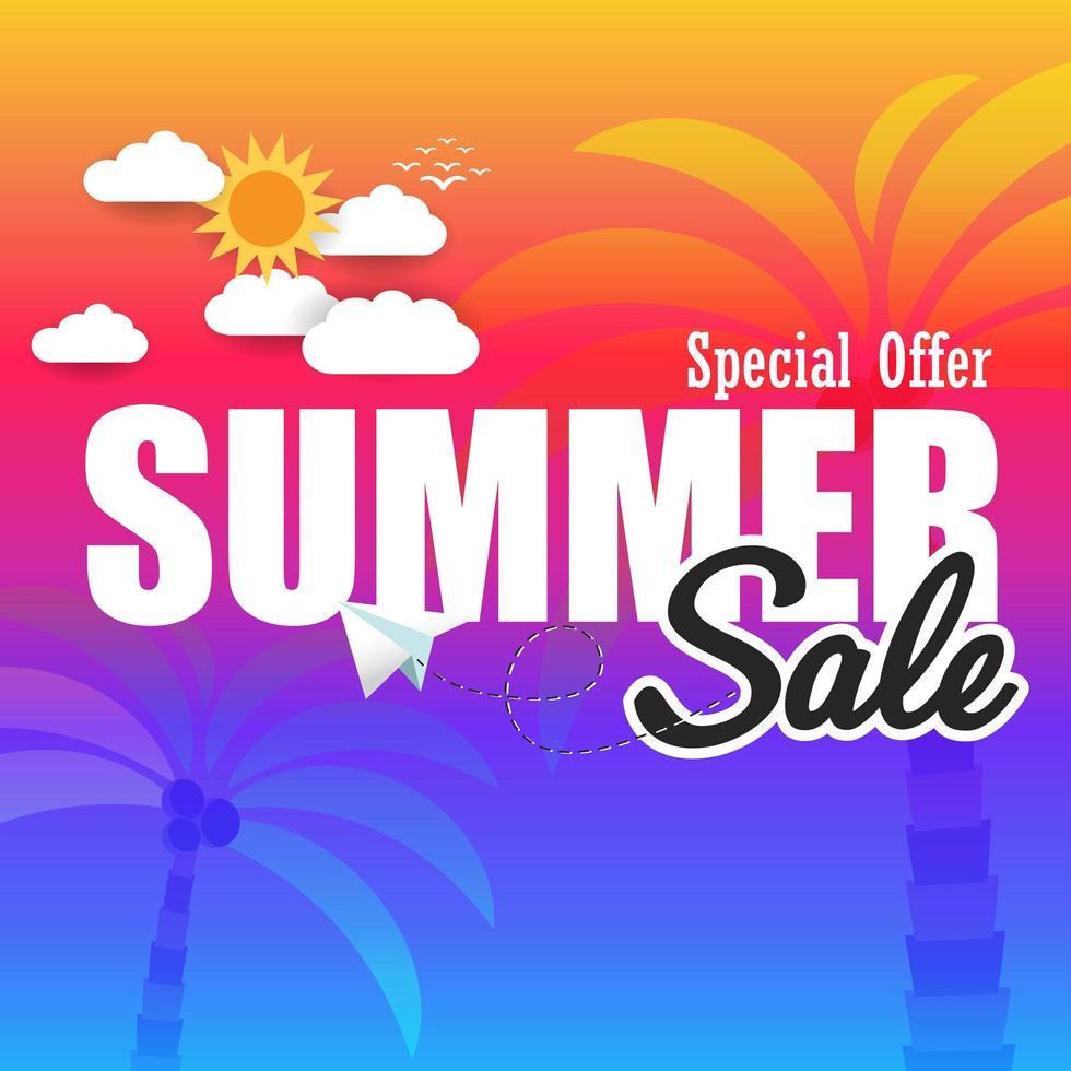 Summer super sale banner template on color background. vector