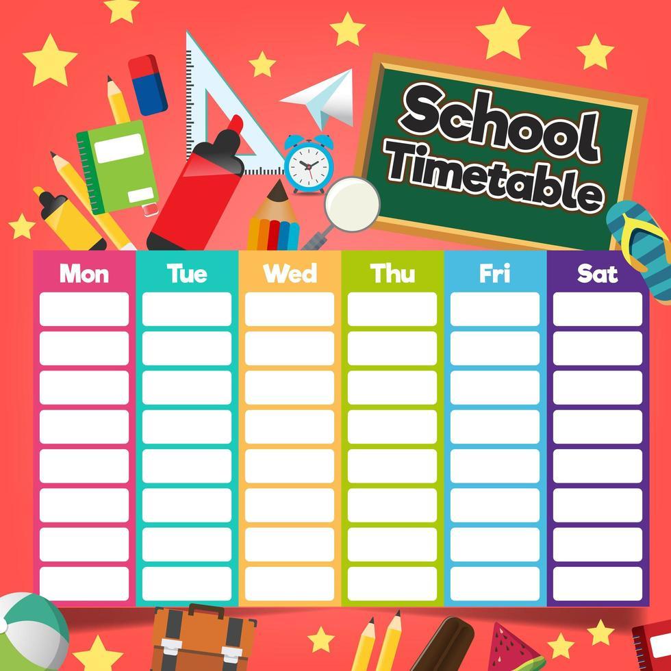School timetable template vector