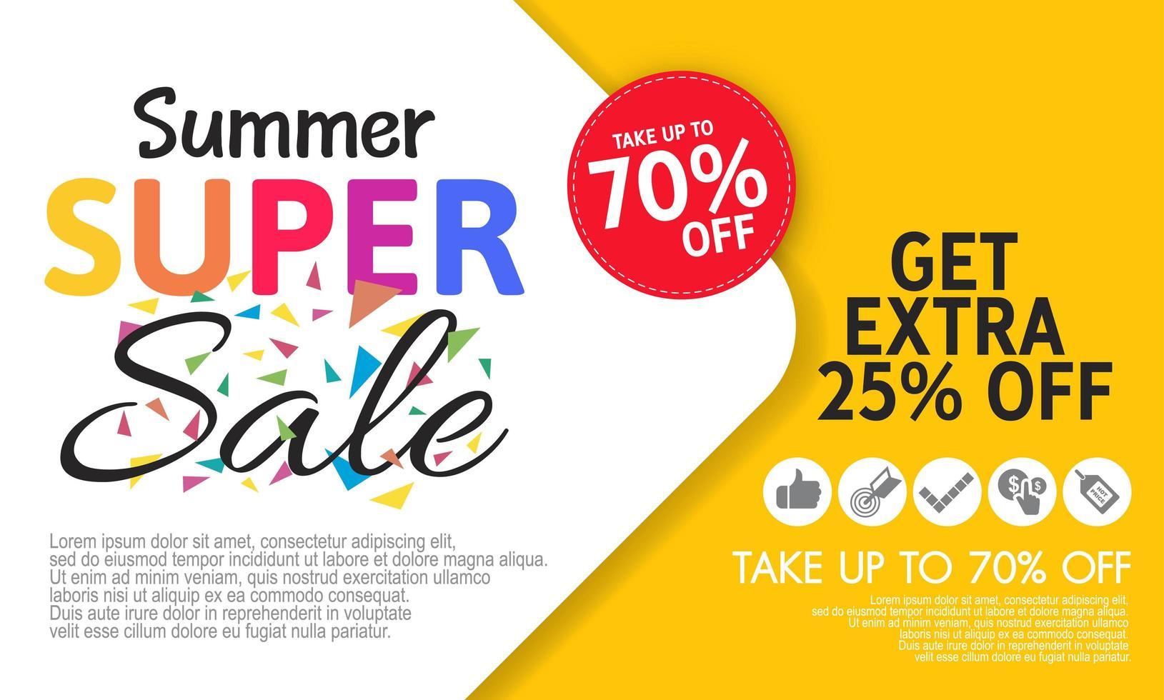 Plantilla de banner de super venta de verano sobre fondo de color. vector