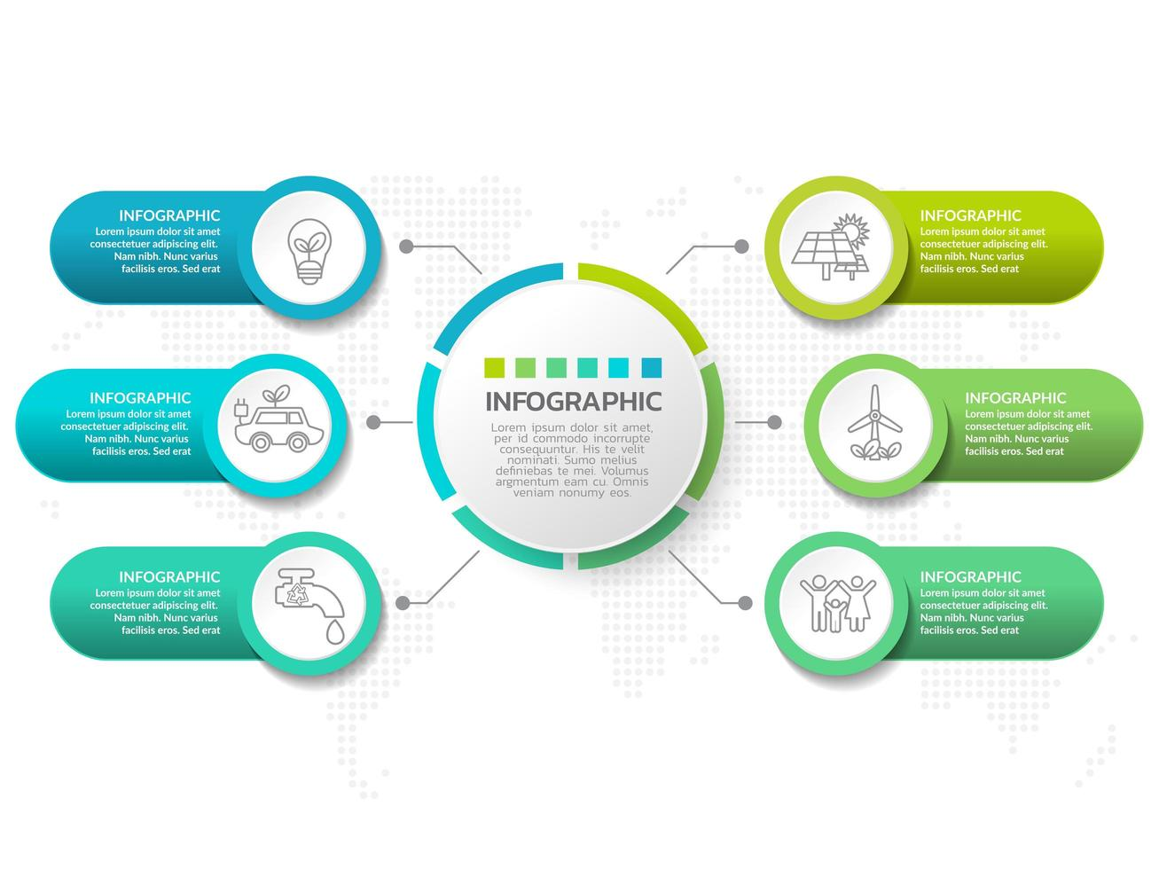 Infographic template design with 6 color options. vector