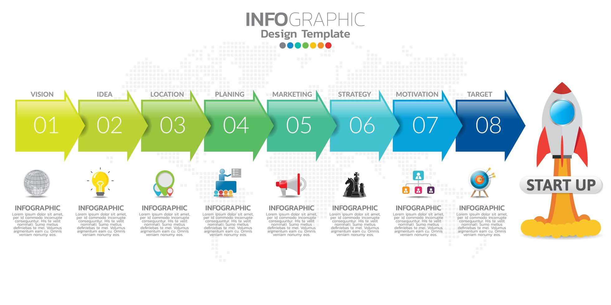 Infographic elements with icons in concept for Startup. vector