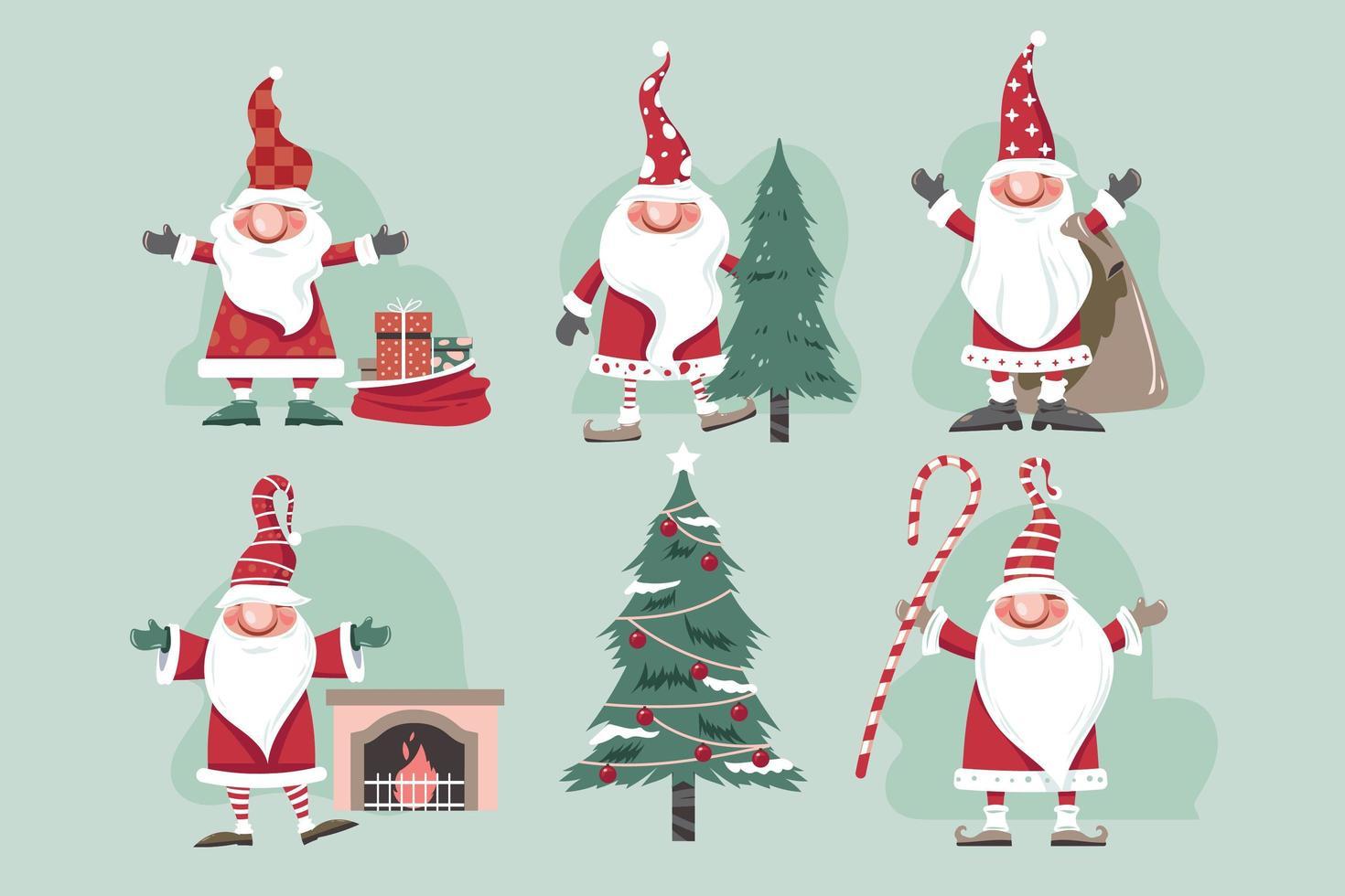 Set of Christmas gnomes Vector Illustration