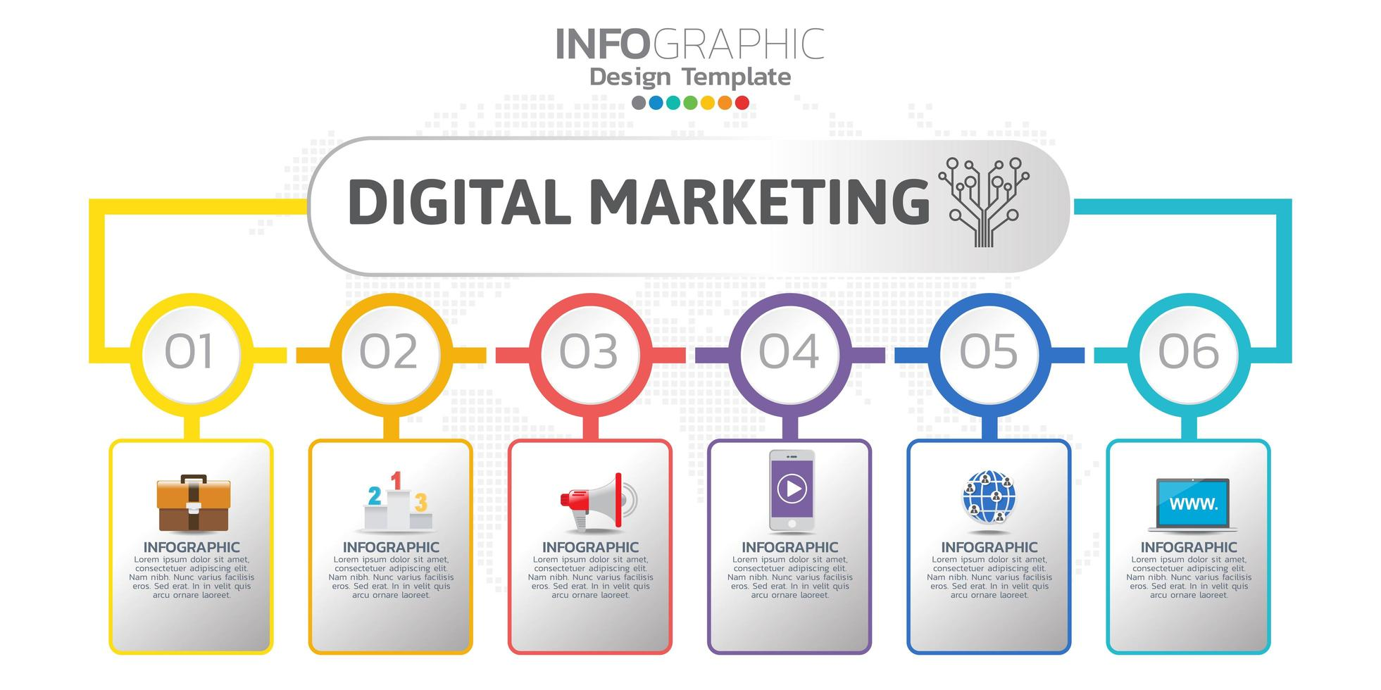 Digital online marketing banner with icons for business contents. vector