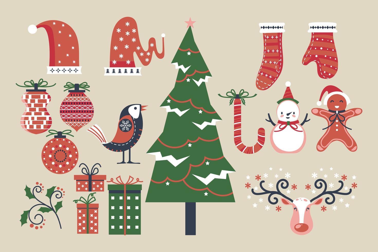 conjunto de elementos de navidad y año nuevo vector