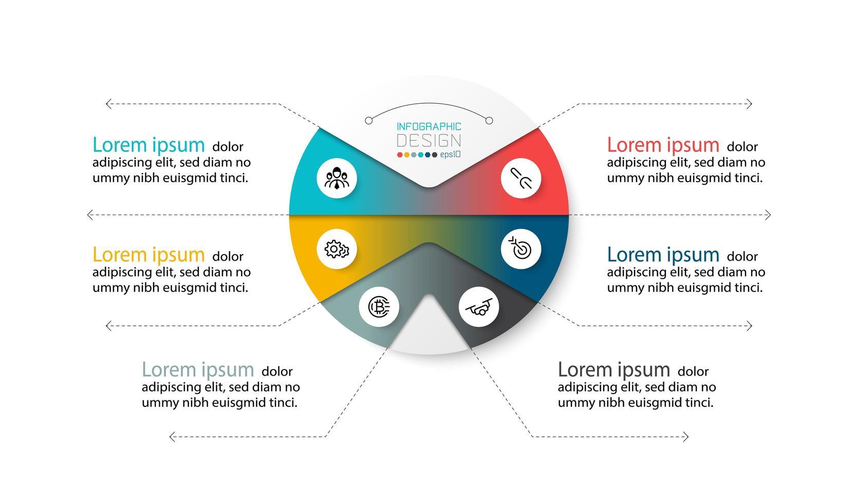 Circle diagram describing work process vector