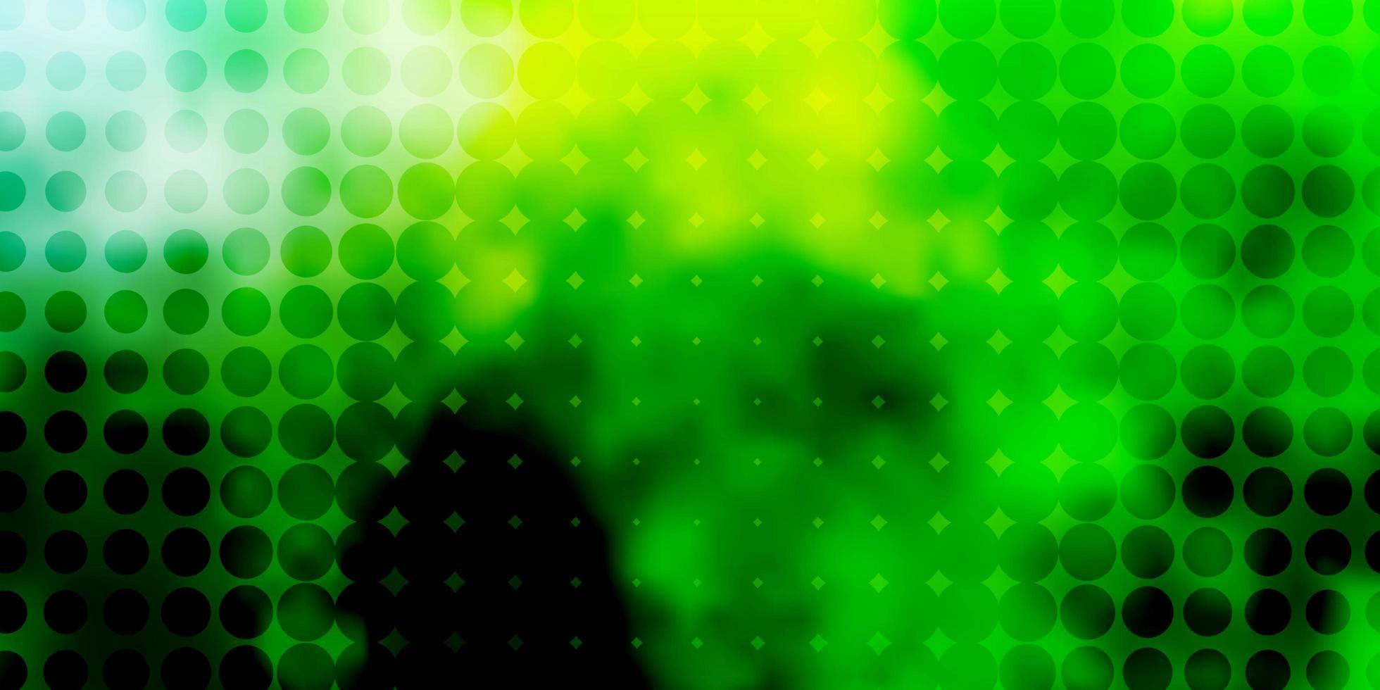 patrón de vector verde claro, amarillo con círculos.