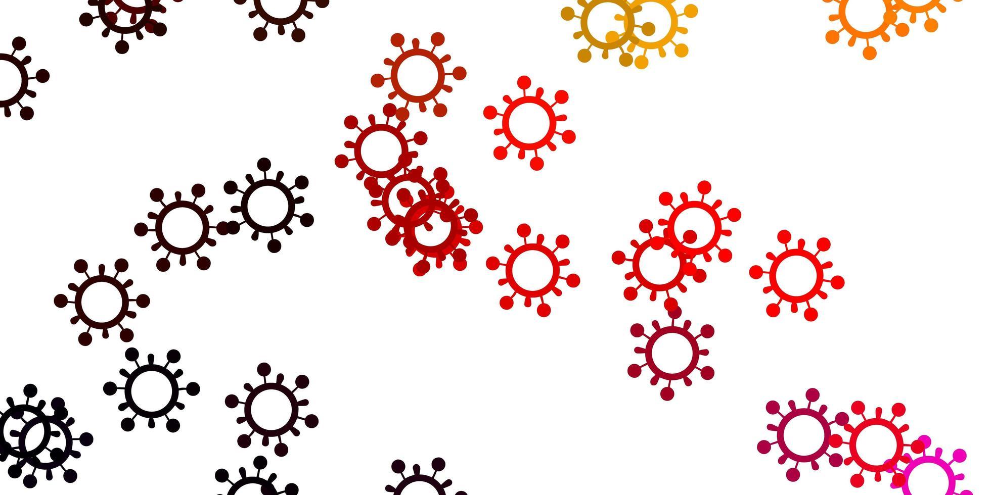 Fondo de vector rosa claro, amarillo con símbolos de virus