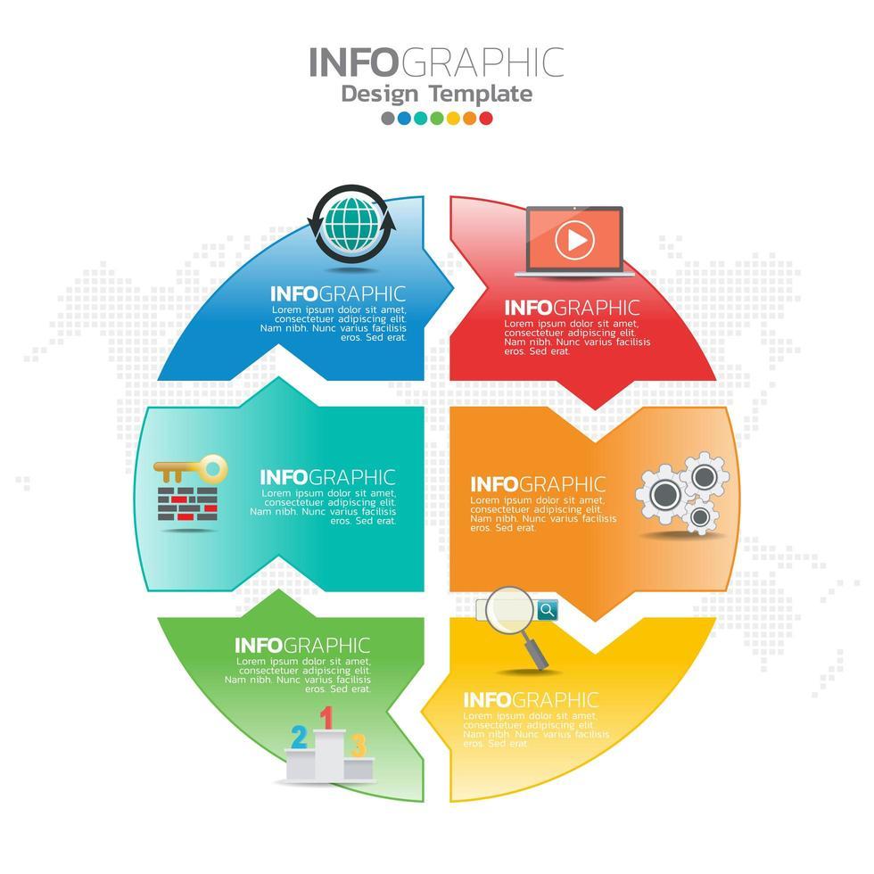 Ilustración del concepto de infografía de infografías seo con plantilla de diseño empresarial. vector