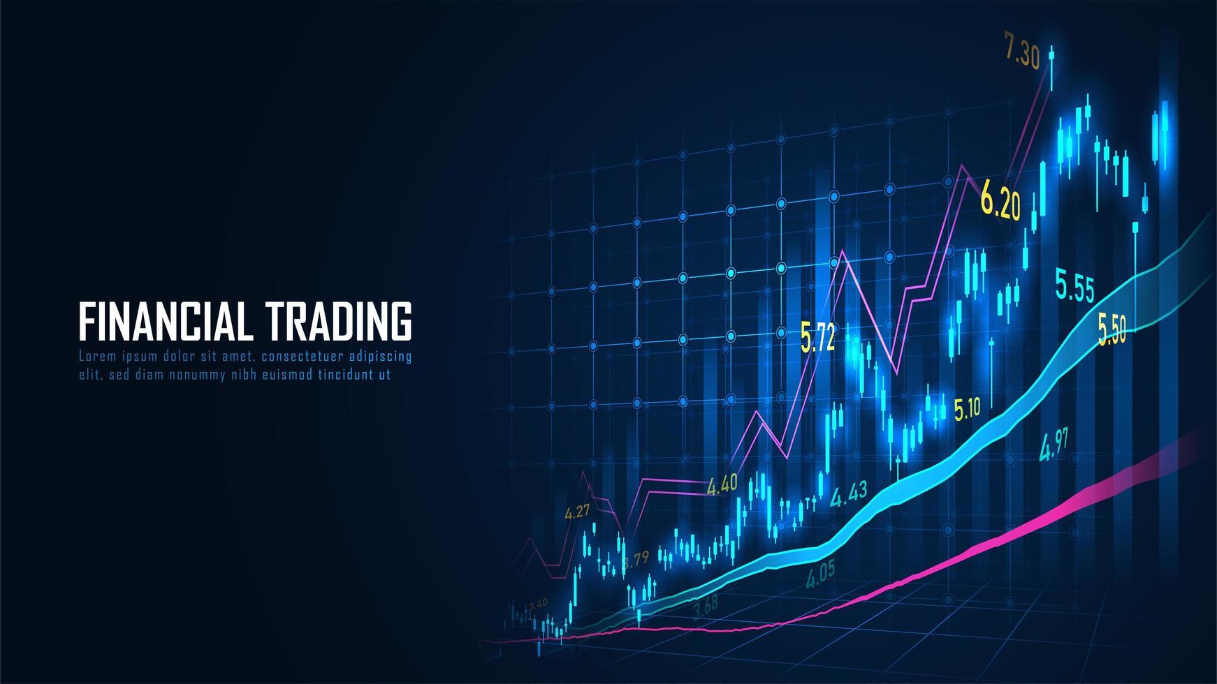 mercado de valores o gráfico de comercio de divisas vector